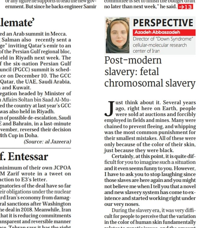 fetal chromosomal slavery